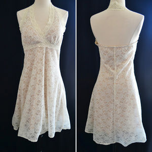 Beige and White Lace Halter Dress Size L